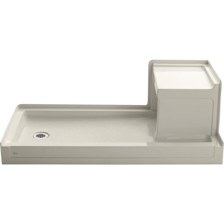 KOHLER Tresham Almond Acrylic Shower Base (Common: 32-in W x 60-in L; Actual: 32-in W x 60-in L) with Left Drain