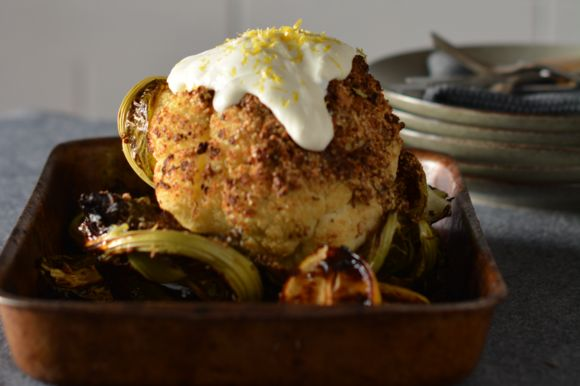Maggie Beer's Whole Roasted Cauliflower with Dukkah and Yoghurt Dressing
