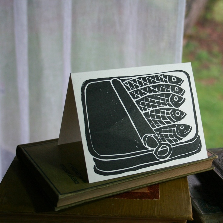 Hand-printed sardine note cards, $12 for 4 card set