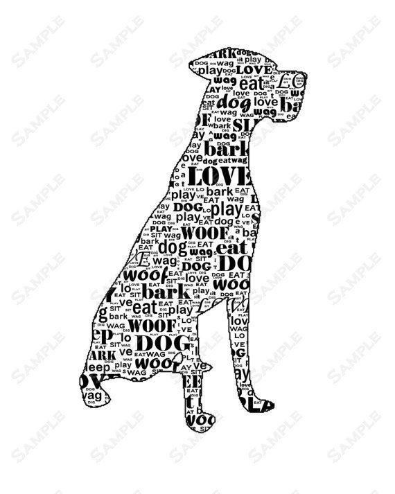 Alano personalizzati cane Silhouette parola arte stampa 8x10 calligramma cane stampa regali animali