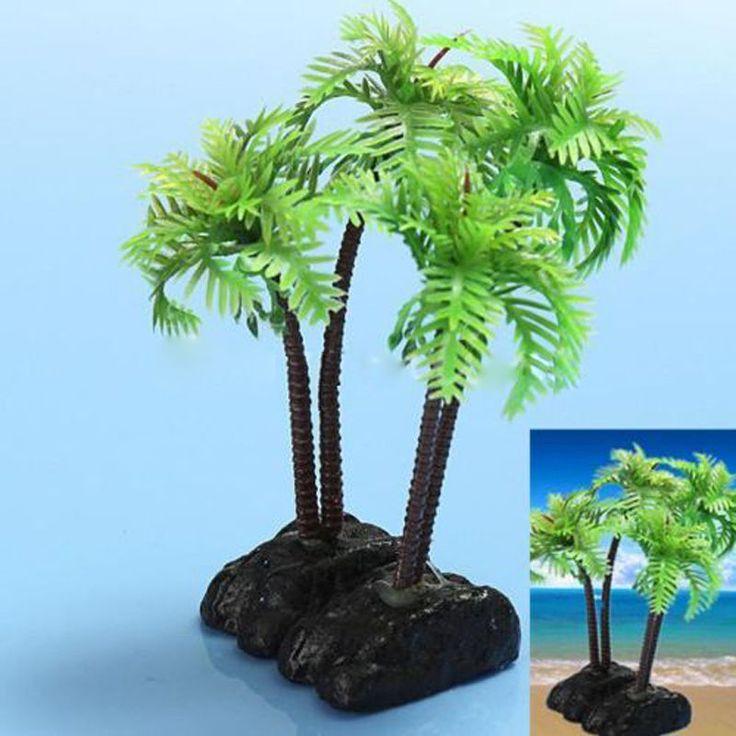 Plastic Aquarium Coconut Trees Fish Tank Plants Ornament Decoration Fresh New #UnbrandedGeneric