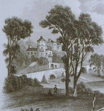 Antique print of Bathwick Hill, Bath, Somerset.