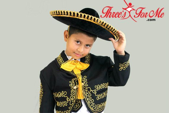 Boy Black Charro Mariachi Suit: 6 piece