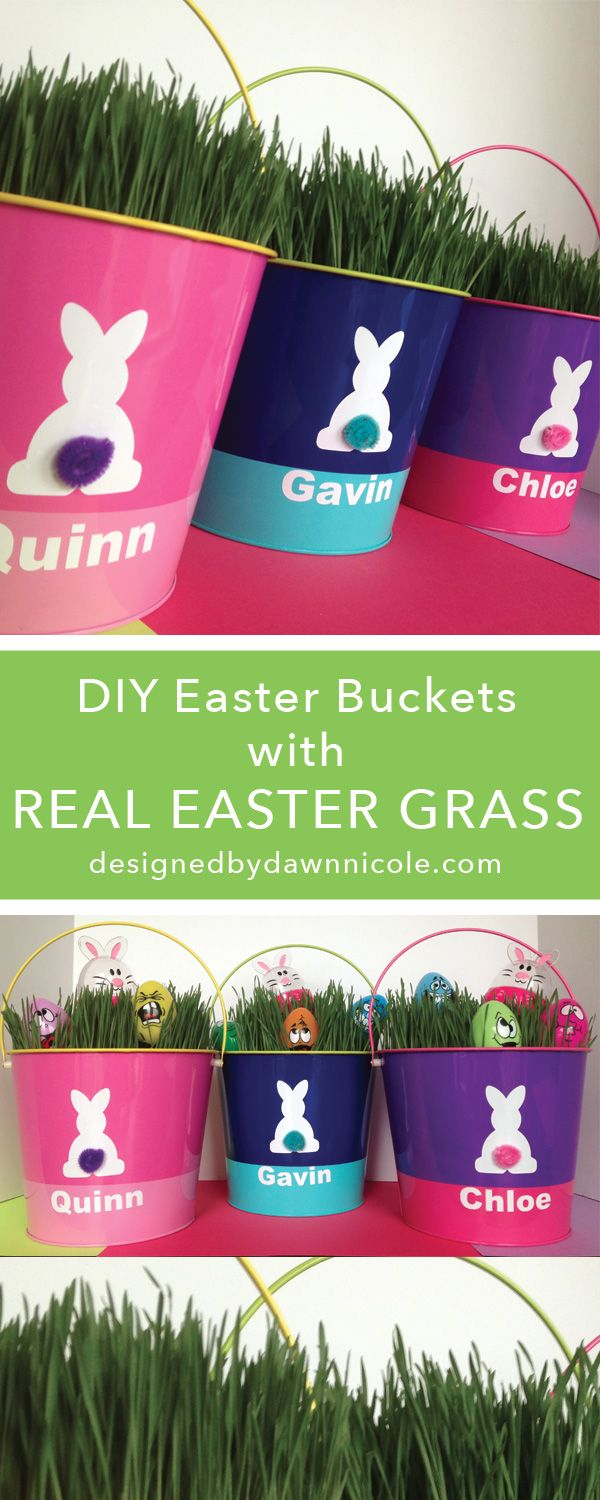 DIY Personalized Easter Buckets {with Real Grass} #silhouettedesignteam #easter