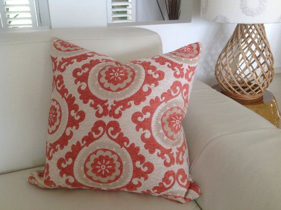 Natural Chenille Jacquard Cushions Orange by IslandHomeEmporium