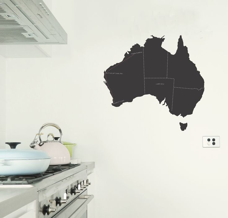 Chalkboard Map of Australia wall sticker available in a dark grey finish. Comes with dashed line marking states and terrirories.  Measures 45cm H x 55cm W.  Mark on all the places you have visited. Mark on where relatives live. Or if you are doing the big trip get the kids to draw on the places you plan to visit! You could even stick this in your caravan whilst on the trip and reposition it at home on your return! https://www.moonfacestudio.com.au #australia #chalkboard #walldecor