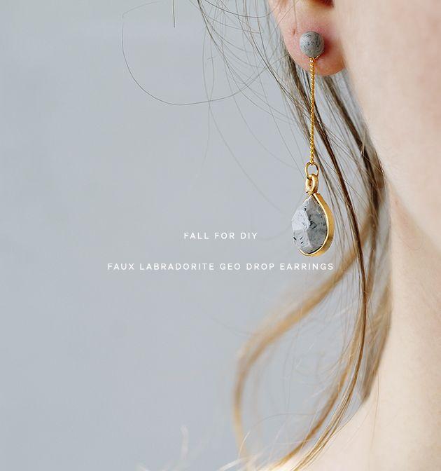 DIY Faux labradorite drop earrings.