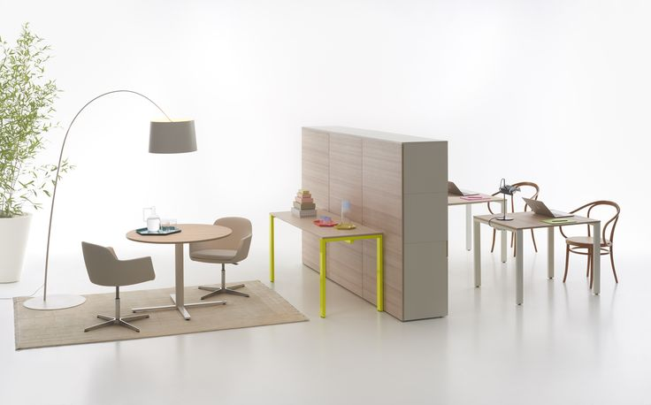 You Eco table with birch top and fluorescent yellow structure + You Eco Cupboard with oak panels #focusoncolor
