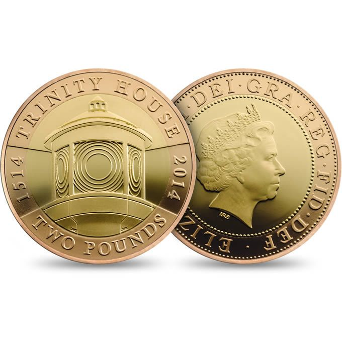 500th Anniversary Trinity House 2014 UK £2 Gold Coin £750.00 http://www.royalmint.com/shop/500th_Anniversary_Trinity_House_2014_UK_2_pound_Gold_Coin