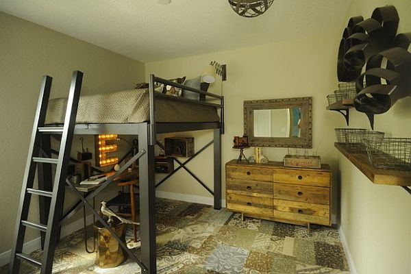 Industrial style bedroom with an ingenious loft bed by The Color Happy Home by Lisa Michael Interiors