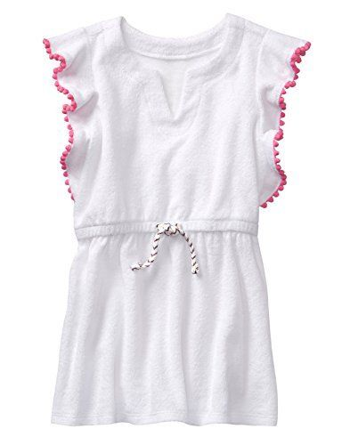 a42c3d7d01 Gymboree Toddler Girls Swim Cover up with Bobble Trim White 5T ...