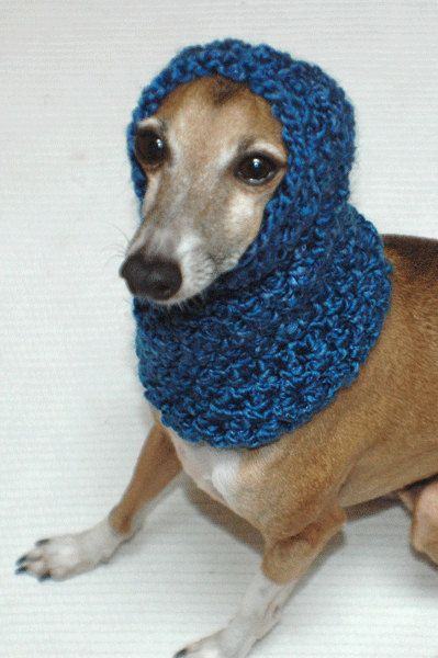 Italian Greyhound (Small Dog) Snood or Neck Warmer in Midnight Blue Color. $12.00, via Etsy.