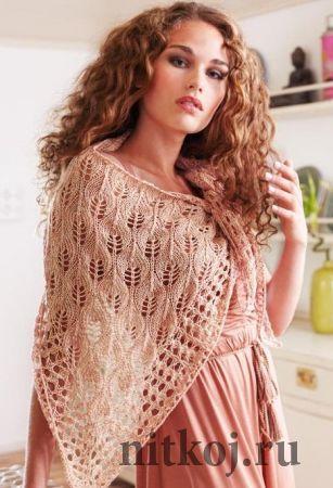 Ажурная шаль спицами Egypto lace shawl