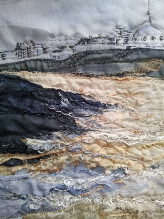 Giclee Textile Art Print 'Whitley Bay Sands' by LauraEdgarTextiles