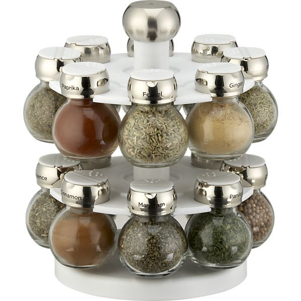 Revolving spice rack from Crate & Barrel. Might be a little pricey for my real kitchen, but I really like this.