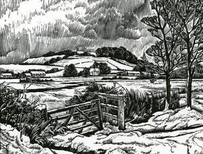 Howard Phipps. Old Sarum In Winter. (wood engraving)