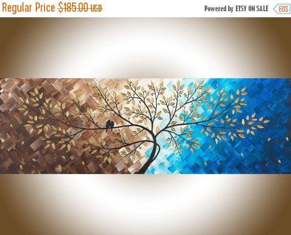 Tela l'arte amore blu marrone uccelli arte stretta di QiQiGallery