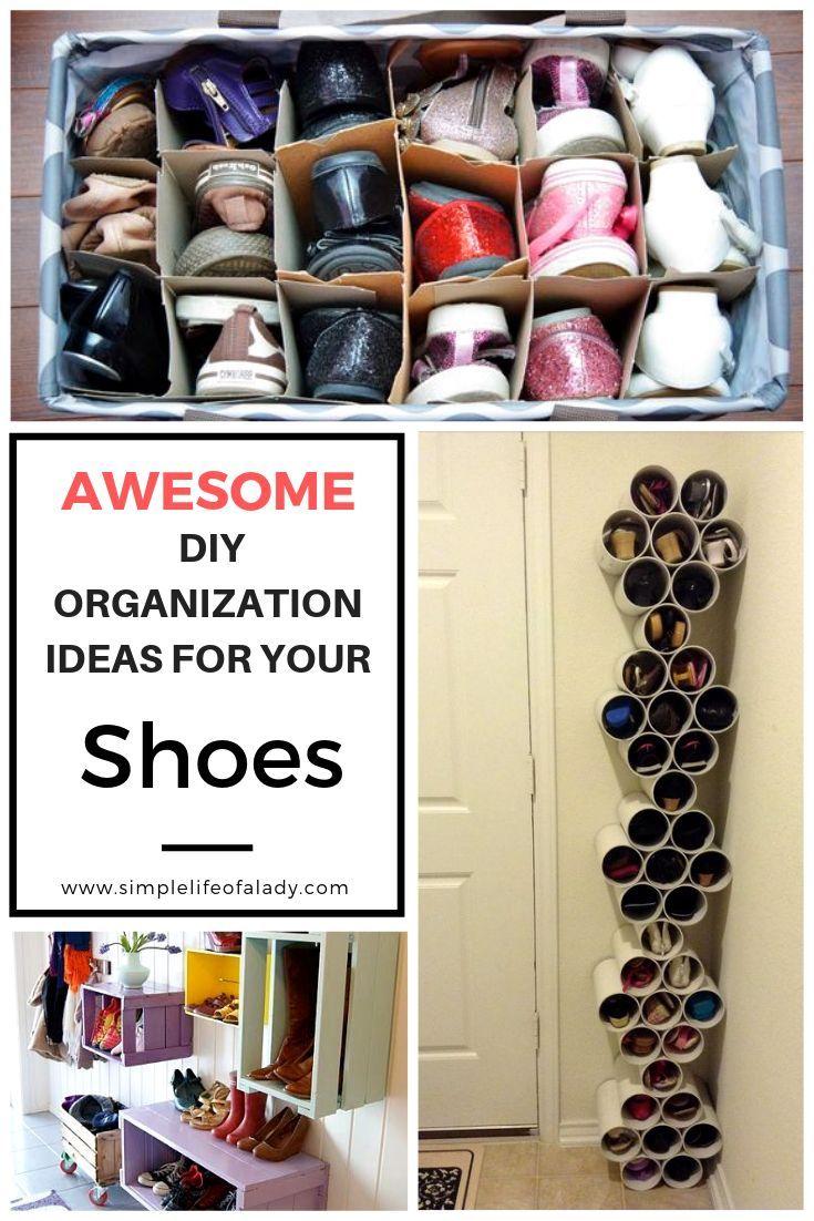 20 Simple Diy Ideas To Organize Shoes Simple Life Of A Lady Fabulous Diy Shoe Organizer Shoe Organization Diy