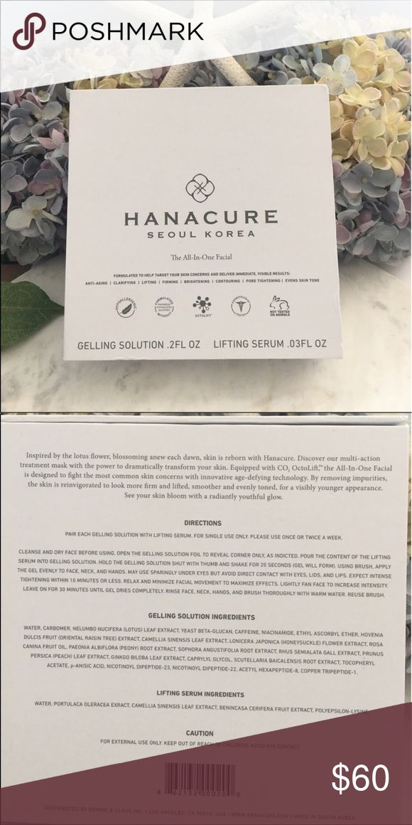 HANACURE The All-In-One Facial Kit Price Firm Have you see this all over the Internet? The mask is the best photo op to freak out your friends but it also effective. The after pics are awesome, the during pictures are scary . This product is currently sold out. There is a waitlist. They do not offer free shipping, there is,in fact a $10 shipping charge    Authentic, this came directly from their website. Price Firm! No trades. Can not be bundled. No further discounts. Thanks and Enjoy …