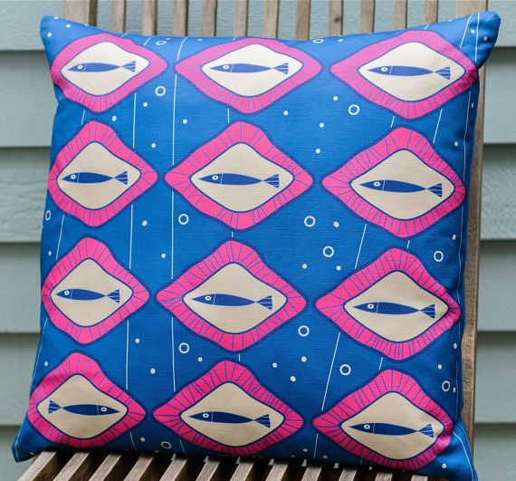 Scandinavian inspired fish pillow cover blue made by TroskoDesign on Etsy: https://www.etsy.com/listing/227355180/scandinavian-inspired-fish-pillow-cover?ref=shop_home_active_17