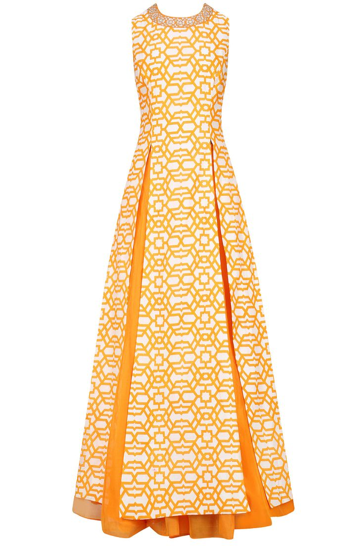 Off white and orange thin line geometric print kurta with orange lehenga available only at Pernia's Pop Up Shop.