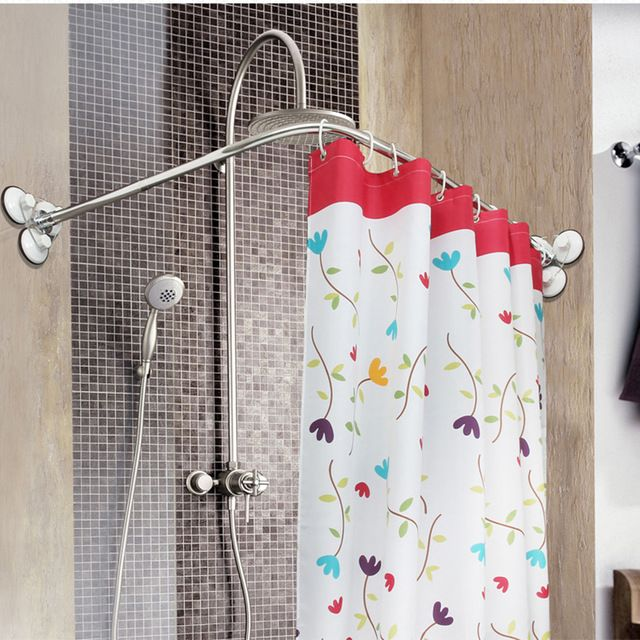 Stainless Steel Curved Shower Curtain Pole Rod Rail Bathroom Products BATH Accessories Supplies Shower Curtain Poles