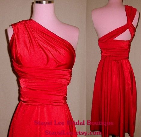 Cherry Red Bridesmaids Wrap/Twist Dress...67 Colors... Cocktail Party, Holiday, Date Night, Wedding, Valentines, Prom. $90.00, via Etsy.