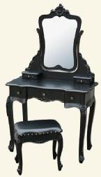 Black shabby chic french dressing table mirror stool set - ZF88053-BK BARGAIN