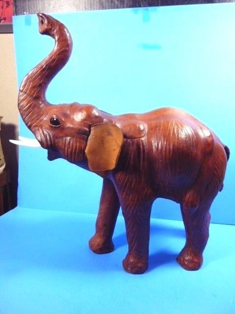 """VINTAGE BROWN LEATHER WRAPPED""""LARGE""""TRUNK UP ELEPHANT FIGURE 18""""TALL x 17""""LONG"""