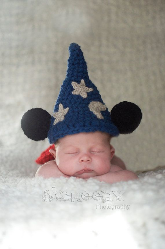 Baby boy hat, baby girl hat, crochet sorcerer mouse, photo prop, baby shower gift, Mickey Mouse, crochet newborn hat, disney nursery