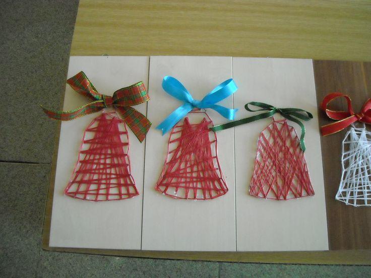 Vánoční 2D nitěné zvonečky - fixováno Herkulem