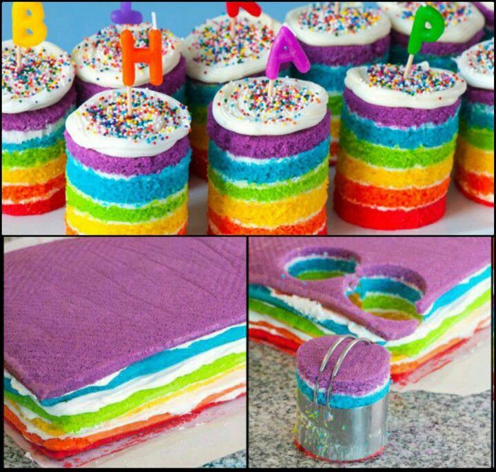 Individual rainbow cakes