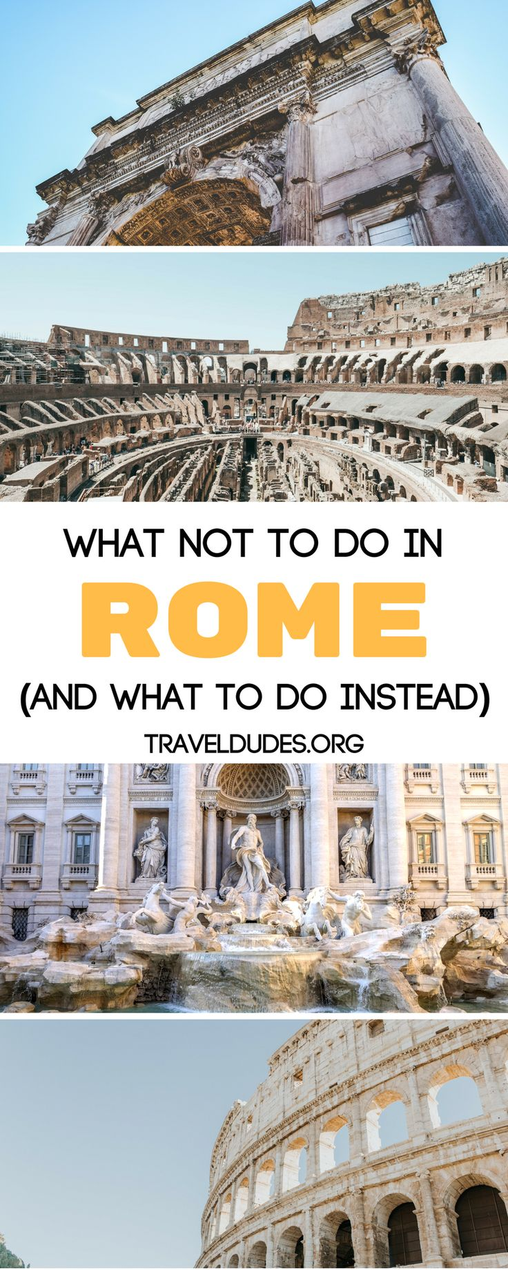 A guide of 10 things not to do as a tourist in Rome. Stay safe on the streets and don't accept anything from strangers. Learn how to visit the Vatican for free and how to avoid expensive tourist menus and eat authentic Italian food. These tips will keep you safe while in Rome. and provide you with an authentic travel experience. Travel in Italy. | Travel Dudes Travel Community #Rome #Italy