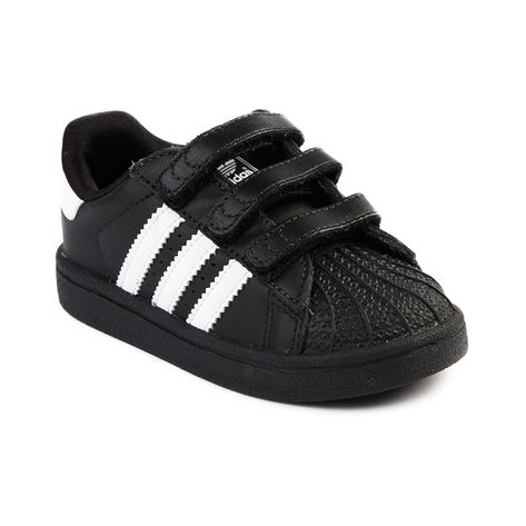Shop for Toddler Adidas Superstar Athletic Shoe in Black White at Journeys Kidz. Shop today for the hottest brands in mens shoes and womens shoes at JourneysKidz.com.A Star Is Reborn. This new version of the original 1969 Superstar has the shoes signature leather upper and famous rubber shell toe. Black monochrome colorway with a hook and loop strap closure for easy on-and-off!