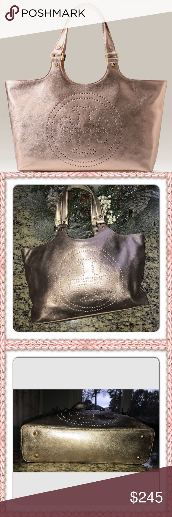 Tory Burch rose gold leather tote Gorgeous Tory Burch rose gold leather Medium  tote. This bag is in excellent condition.  A beautiful neutral to add to your collection!! Tory Burch Bags Totes