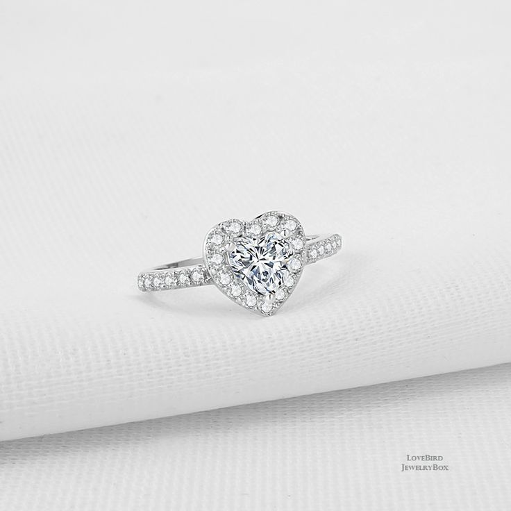 0.75 ct. Heart Halo Surface Prong 925 Sterling Silver CZ Engagement Ring - CZ, Moissanite & Simulated