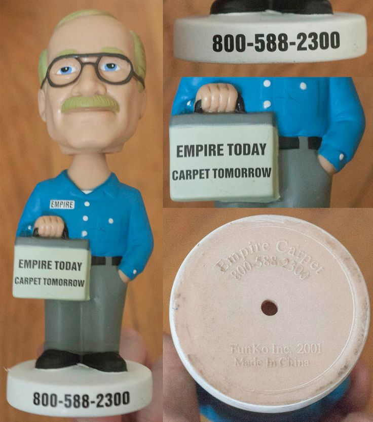 EMPIRE CARPET EMPIRE TODAY TV PITCH MAN PROMOTIONAL ADVERTISING BOBBLEHEAD in Collectibles, Pinbacks, Bobbles, Lunchboxes, Bobbleheads, Nodders | eBay