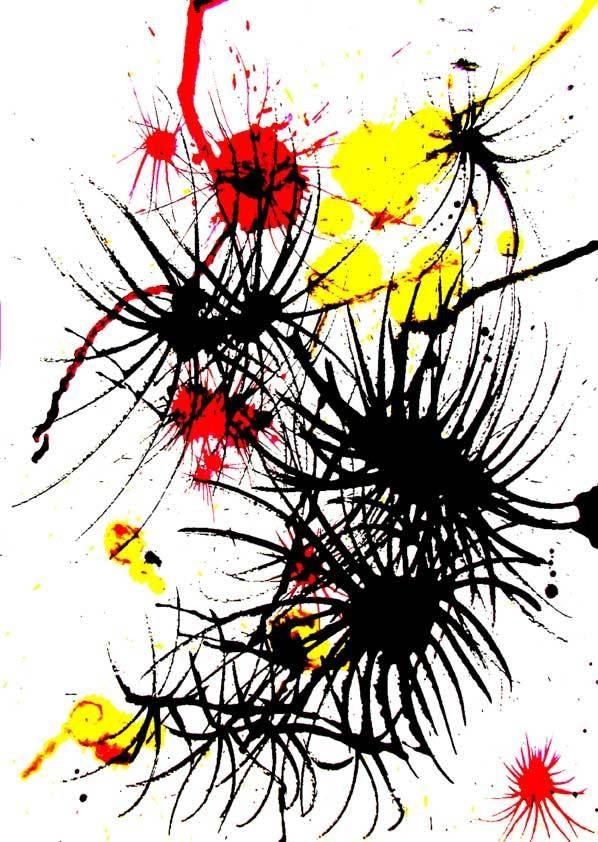 Alien Flower 1, mixed media/ ink by Lindsay Kokoska