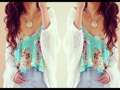 Blusa estampada color azul #Moda #Mujer #Bonita