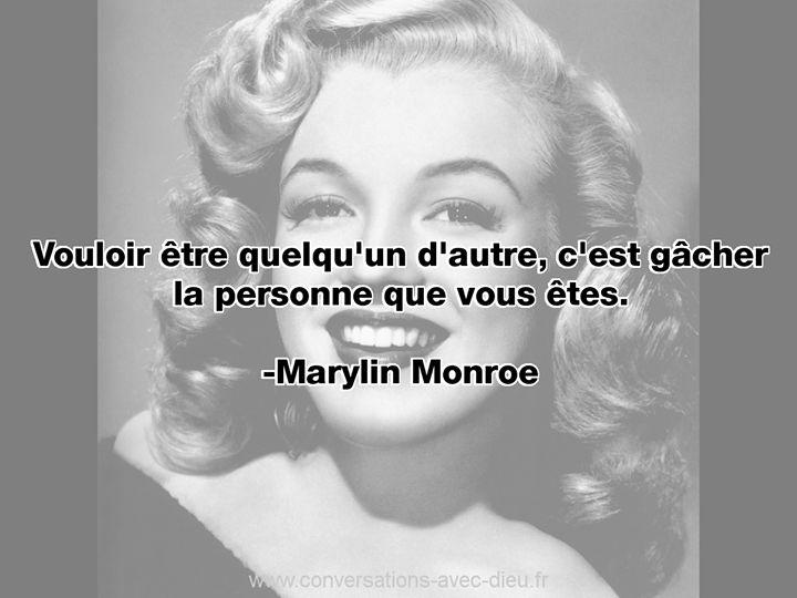 """""""Vouloir être quelqu'un d'autre c'est gâcher la personne que vous êtes.""""  -Marylin Monroe  http://ift.tt/1V9s8wk"""