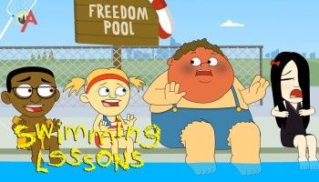 Bruce has a mild heart attack when confronted by the backstroke. | Swimming Lessons