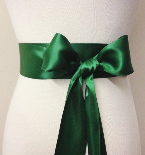 "2 Inch Wide Ribbon Belt-Dark Green Sash-5cm Plain Sash-Bridal Sash-Flower Girl Belt-Bridesmaid Sash-2"" Emerald Green Double Sided Sash"