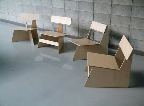 Efficient furniture #design by Seungji Mun. 4 #modern chairs from one 4x8 wood sheet.