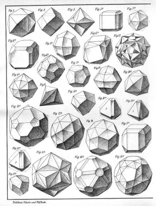 """Plates from the book: Max Bruckner, """"Vielecke und Vielflache"""" (Leipzig, 1900)"""