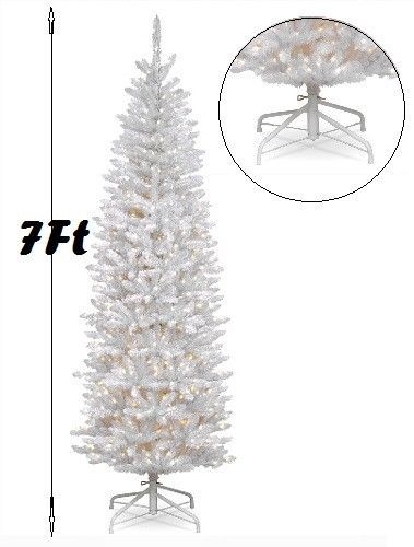 Details About White Slim Christmas Tree 7ft Kingswood Fir Hinged