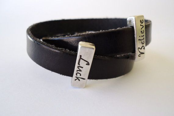 Black leather  bracelet with two metal by PopisBOUTIQUE on Etsy