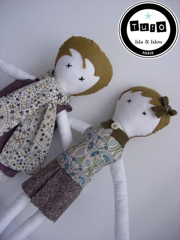tuto gratuit poupée liberty feutrine lila et lilou Lucie et Irène