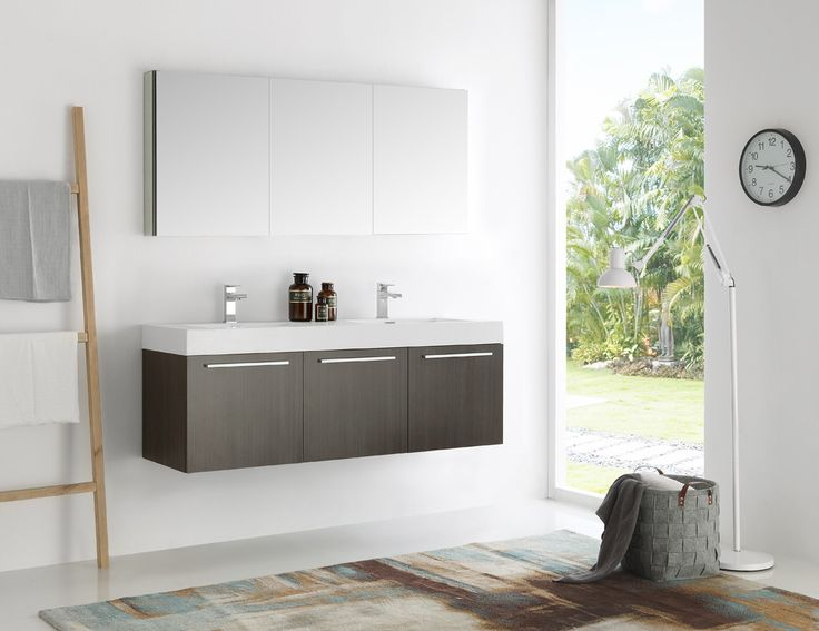 "Fresca Vista 60"" Gray Oak Wall Hung Double Sink Modern Bathroom Vanity w/ Medicine Cabinet & Free Faucet"