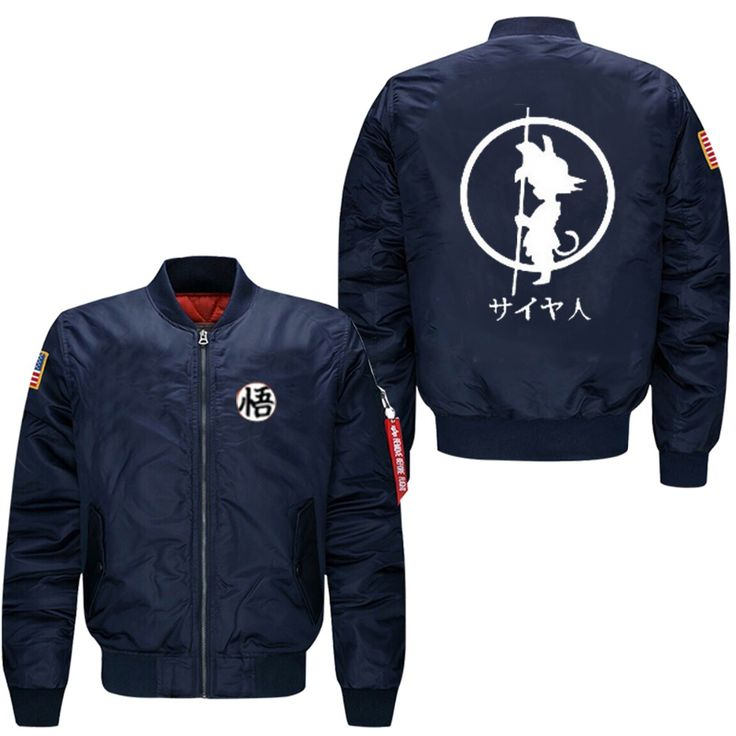 Spring Men Bomber flight Jacket Anime Dragon Ball Saiyan Goku no luminous print lensuire baseball uniform USA size free shipping