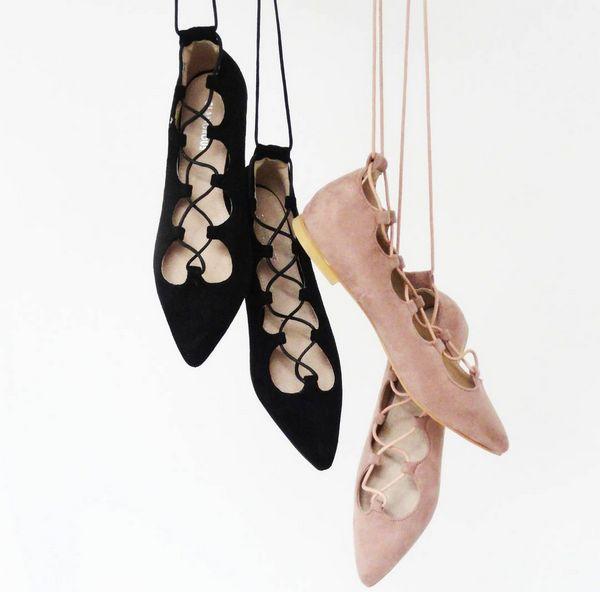 FLAT LACE UP BLACK NUDE I MONASHE.PL - Sklep online modna odzieza.